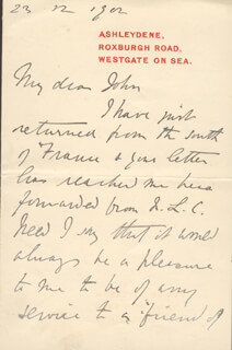JUSTIN McCARTHY - AUTOGRAPH LETTER SIGNED 12/23/1902