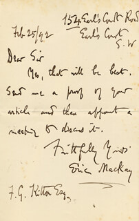 ERIC MACKAY - AUTOGRAPH LETTER SIGNED 02/25/1892
