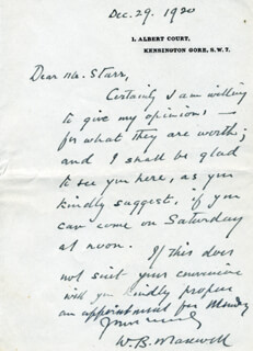 WILLIAM B. MAXWELL - AUTOGRAPH LETTER SIGNED 12/29/1920