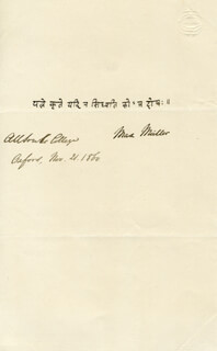 MAX MULLER - AUTOGRAPH 11/21/1860