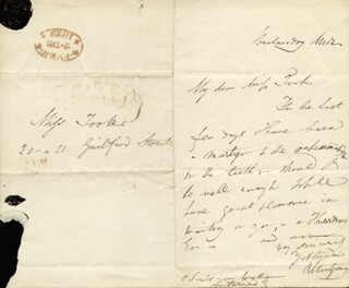 ROBERT MONTGOMERY - AUTOGRAPH LETTER SIGNED 12/02/1829