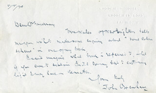 WILLIAM ARTHUR (JOHN OXENHAM) DUNKERLEY - AUTOGRAPH LETTER SIGNED 02/11/1920