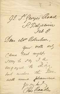 CHARLES READE - AUTOGRAPH LETTER SIGNED 2/08