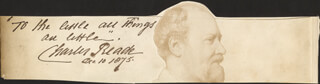CHARLES READE - AUTOGRAPH QUOTATION SIGNED 12/10/1875