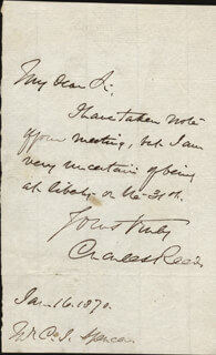 CHARLES READE - AUTOGRAPH NOTE SIGNED 01/16/1870