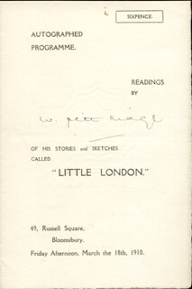 WILLIAM PETT RIDGE - PROGRAM SIGNED CIRCA 1910