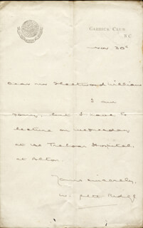 WILLIAM PETT RIDGE - AUTOGRAPH LETTER SIGNED 11/30