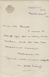 WILLIAM PETT RIDGE - AUTOGRAPH LETTER SIGNED 09/05/1928