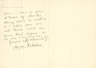 ANNE RITCHIE - AUTOGRAPH LETTER SIGNED