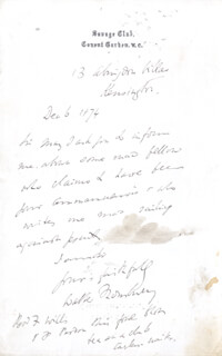 GEORGE WALTER THORNBURY - AUTOGRAPH LETTER SIGNED 12/06/1874