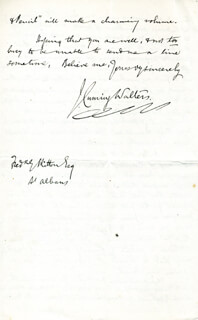 J. CUMING WALTERS - AUTOGRAPH LETTER SIGNED 11/02/1889