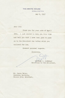 MATTHEW J. CONNELLY - TYPED LETTER SIGNED 05/06/1947