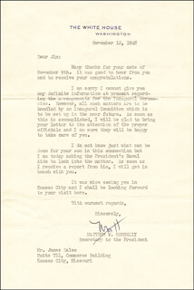 MATTHEW J. CONNELLY - TYPED LETTER SIGNED 11/12/1948