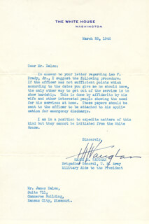 GENERAL HARRY H. VAUGHAN - TYPED LETTER SIGNED 03/26/1946