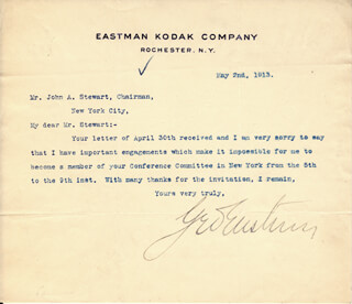GEORGE EASTMAN - TYPED LETTER SIGNED 05/02/1913