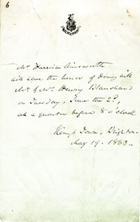 W. HARRISON AINSWORTH - THIRD PERSON AUTOGRAPH NOTE 05/19/1863