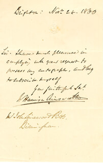Autographs: W. HARRISON AINSWORTH - AUTOGRAPH LETTER SIGNED 11/24/1860