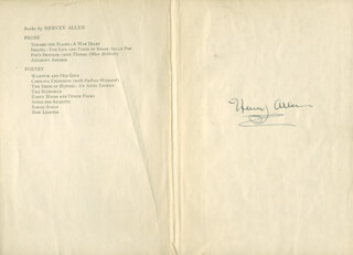 HERVEY ALLEN - BOOK PAGE SIGNED