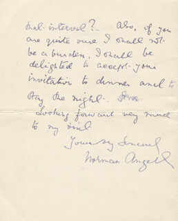 Autographs: SIR NORMAN ANGELL - AUTOGRAPH LETTER SIGNED