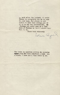Autographs: SIR NORMAN ANGELL - TYPED LETTER SIGNED CIRCA 1932