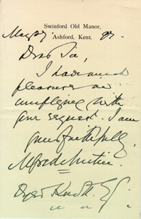 ALFRED AUSTIN - AUTOGRAPH LETTER SIGNED 05/27/1897