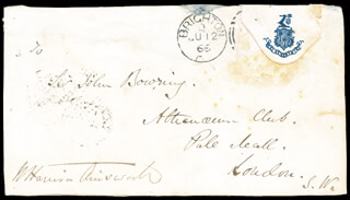 Autographs: W. HARRISON AINSWORTH - AUTOGRAPH ENVELOPE SIGNED CIRCA 1866