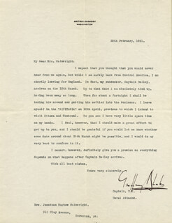 Autographs: VICE ADMIRAL GEOFFREY BLAKE - TYPED LETTER SIGNED 02/25/1921