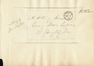 JEAN INGELOW - AUTOGRAPH ENVELOPE UNSIGNED CIRCA 1870
