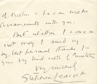 STEPHEN LEACOCK - AUTOGRAPH LETTER SIGNED 10/31/1922