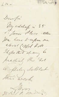 ROBERT (EARL OF LYTTON I) BULWER-LYTTON - AUTOGRAPH NOTE SIGNED 12/1867