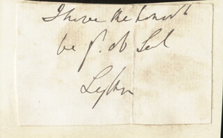 ROBERT (EARL OF LYTTON I) BULWER-LYTTON - AUTOGRAPH SENTIMENT SIGNED