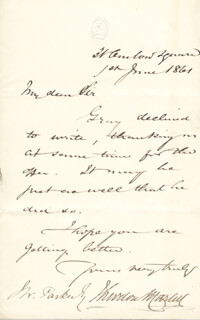 SIR THEODORE MARTIN - AUTOGRAPH LETTER SIGNED 06/01/1861