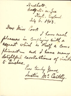 JUSTIN McCARTHY - AUTOGRAPH LETTER SIGNED 07/06/1903