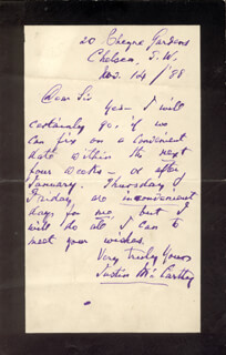 JUSTIN McCARTHY - AUTOGRAPH LETTER SIGNED 11/14/1888