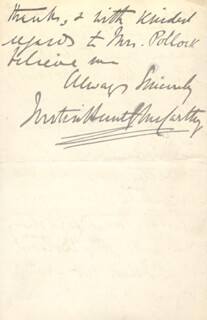 JUSTIN McCARTHY - AUTOGRAPH LETTER SIGNED 03/18/1903