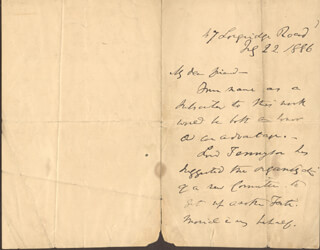 CHARLES MACKAY - AUTOGRAPH LETTER SIGNED 07/22/1886
