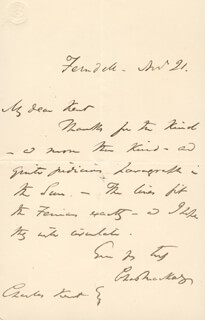 CHARLES MACKAY - AUTOGRAPH LETTER SIGNED 11/21/1886