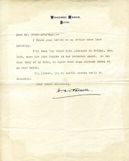 HORACE ANNESLEY VACHELL - TYPED LETTER SIGNED