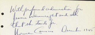 Autographs: NORMAN COUSINS - AUTOGRAPH SENTIMENT SIGNED 12/1945