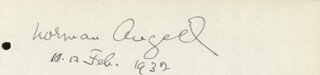 SIR NORMAN ANGELL - AUTOGRAPH 02/12/1932