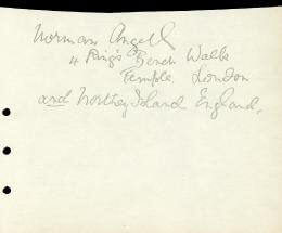 SIR NORMAN ANGELL - AUTOGRAPH