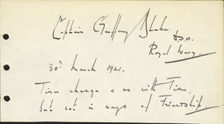 Autographs: VICE ADMIRAL GEOFFREY BLAKE - AUTOGRAPH QUOTATION SIGNED 03/30/1921