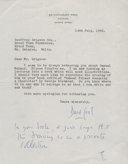 Autographs: LORD DAVID CECIL - TYPED LETTER SIGNED 07/14/1966