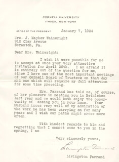 LIVINGSTON FARRAND - TYPED LETTER SIGNED 01/07/1924