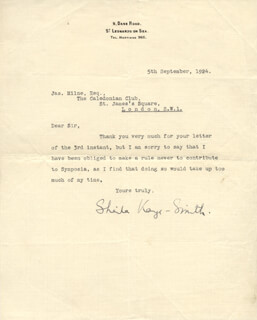 SHELIA KAYE-SMITH - TYPED LETTER SIGNED 09/05/1924