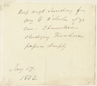 JOHN GIBSON LOCKHART - AUTOGRAPH NOTE UNSIGNED 01/17/1842