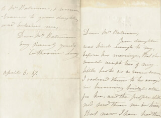 CATHARINE LONG - AUTOGRAPH LETTER SIGNED 04/06/1867
