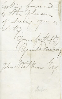 GERALD MASSEY - AUTOGRAPH LETTER SIGNED CIRCA 1861