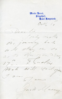 GERALD MASSEY - AUTOGRAPH LETTER SIGNED 10/1