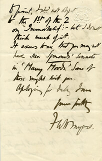 FREDERIC W. H. MYERS - AUTOGRAPH LETTER SIGNED 06/25/1880